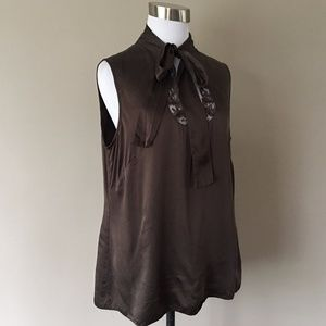 SILK Brown Top Pullover Large Sleeveless